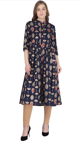 Navy Blue Color Cotton Women's Stitched Kurti - 2522063XFDR