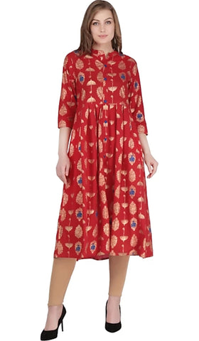 Red Color Cotton Women's Stitched Kurti - 2522064XFDR
