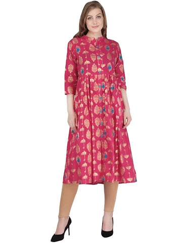 Pink Color Cotton Women's Stitched Kurti - 2522065XFDR