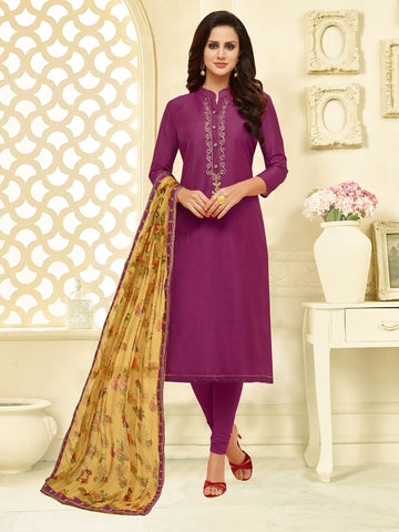 Magenta Color Chanderi Cotton  UnStitched Salwar  - 25DMK1008