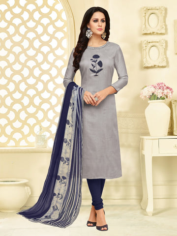 Grey Color Chanderi Cotton  UnStitched Salwar  - 25DMK1009