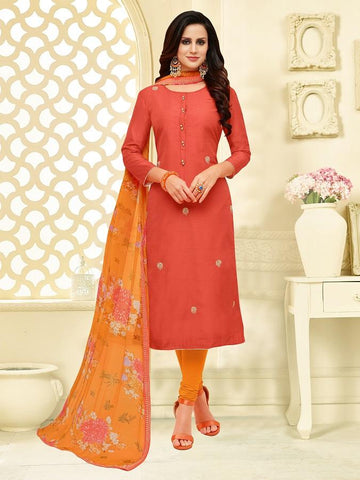 Orange Color Chanderi Cotton  UnStitched Salwar  - 25DMK1010