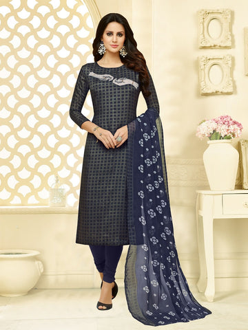 Grey and Navy Blue Color Chanderi Cotton  UnStitched Salwar  - 25DMK1011