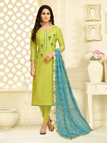 Parrot Green Color Chanderi Cotton  UnStitched Salwar  - 25DMK1012