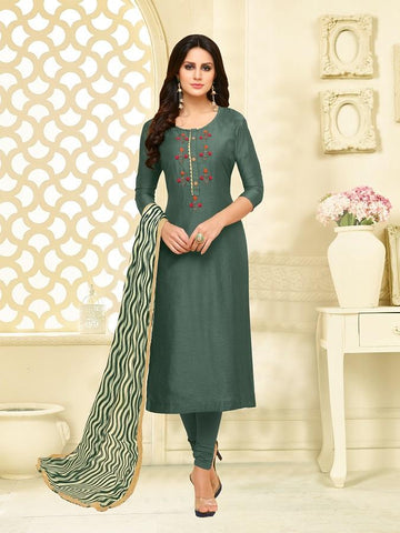 Teal Green Color Chanderi Cotton  UnStitched Salwar  - 25DMK1013