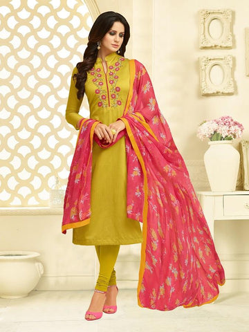 Mustard Color Chanderi Cotton  UnStitched Salwar  - 25DMK1014