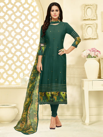 Green Color Chanderi Cotton  UnStitched Salwar  - 25DMK1015