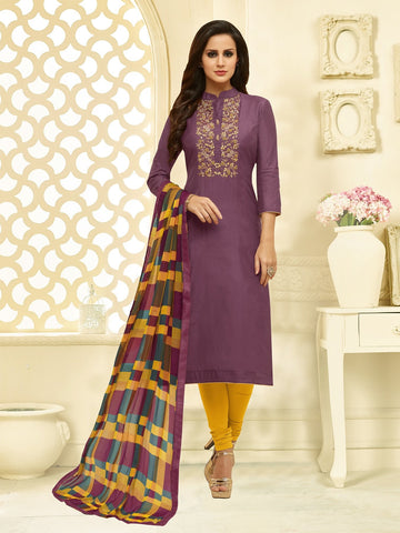 Mauve Color Chanderi Cotton  UnStitched Salwar  - 25DMK1016