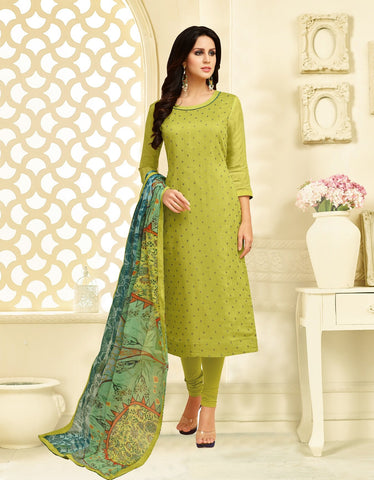 Parrot Green Color Chanderi Cotton  UnStitched Salwar  - 25DMK1017
