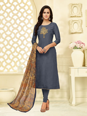 Grey Color Chanderi Cotton  UnStitched Salwar  - 25DMK1018