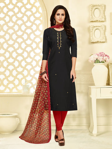 Black Color Chanderi Cotton  UnStitched Salwar  - 25DMK1019