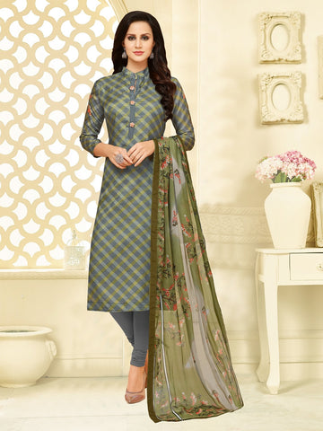 Grey and Olive Green Color Chanderi Cotton  UnStitched Salwar  - 25DMK1020