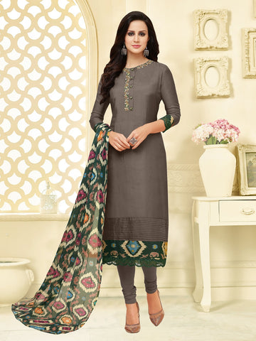 Grey Color Chanderi Cotton  UnStitched Salwar  - 25DMK1021