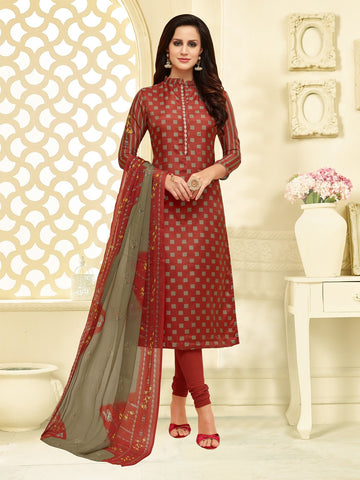 Rust Color Chanderi Cotton  UnStitched Salwar  - 25DMK1022