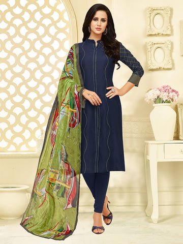 Navy Blue Color Chanderi Cotton  UnStitched Salwar  - 25DMK1023