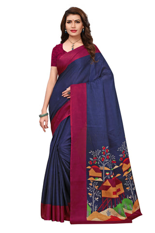 Blue Color Khadi Silk Printed Saree - 26