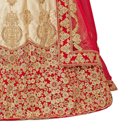 Beige Color Silk Satin Semi Stitched Lehenga - NOORI-27002
