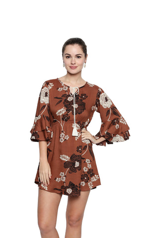 Brown Color Cotton Rayon Top - 272TN197B