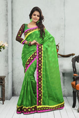 Green Color Crepe Jacqaurd Saree