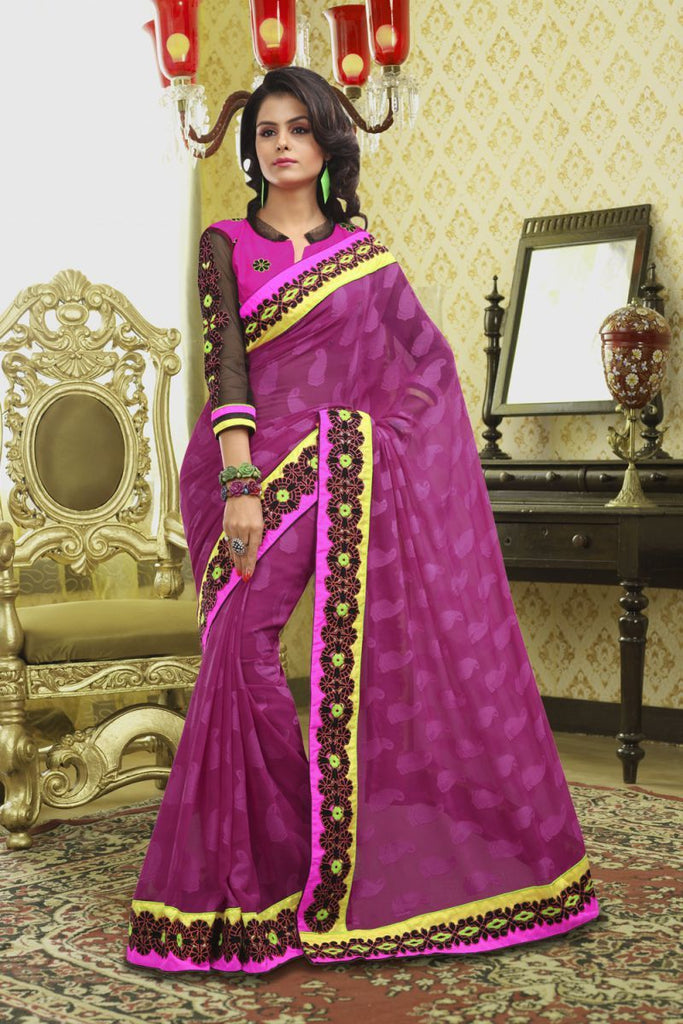 Magenta Color Crepe Jacqaurd Saree