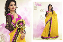 Yellow Color Crepe Jacqaurd Saree