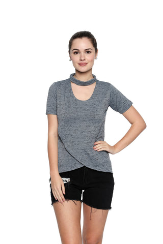 Grey Color Lycra Knit Asymmetric Top  - 281NT205G