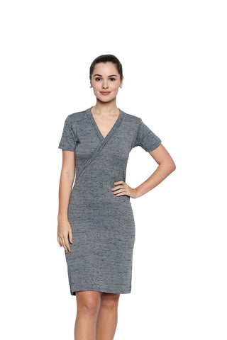 Grey Color Lycra Knit Asymmetric Dress - 282MI206G
