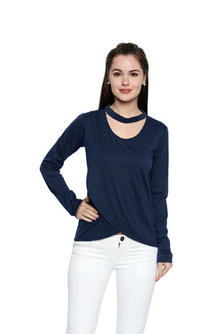 Blue Color Lycra Knit Asymmetric Top - 283NT205B