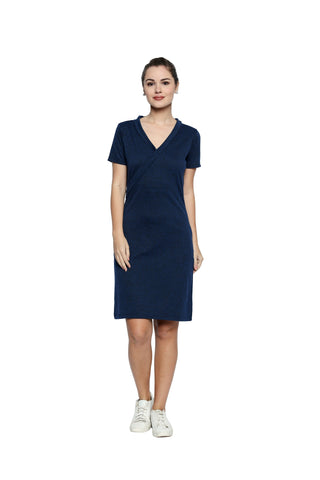 Blue Color Lycra Knit Asymmetric Dress  - 284MI206B