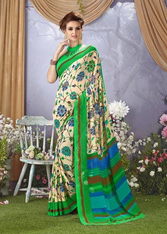 Beige and Lime Green Color Faux Georgette Saree - 28728