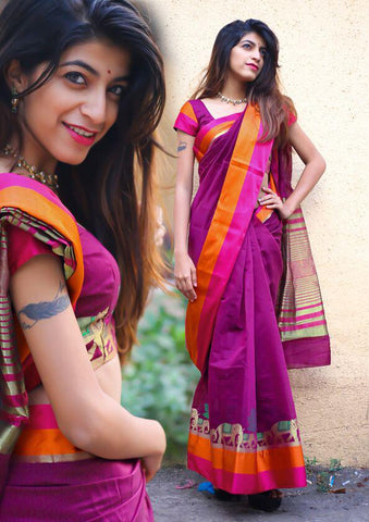 Magenta Color Cotton Silk Saree - 28731