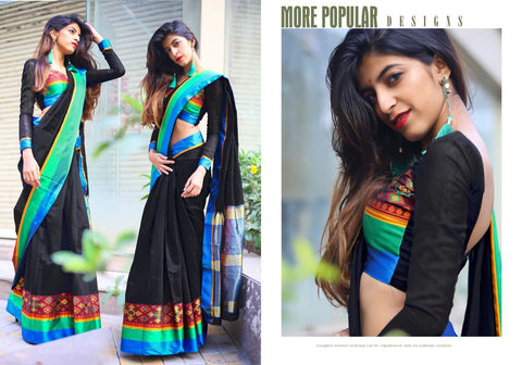 Black Color Cotton Silk Saree - 28733