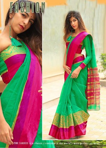 Green Color Cotton Silk Saree - 28736