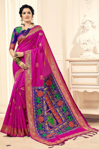 Pink Color Banarasi Silk Saree - 28756