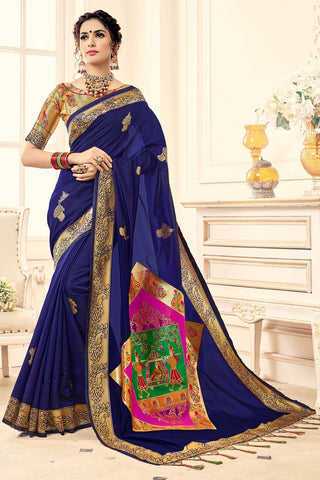 Blue Color Banarasi Silk Saree - 28758