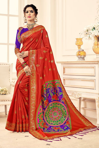 Orange Color Banarasi Silk Saree - 28759