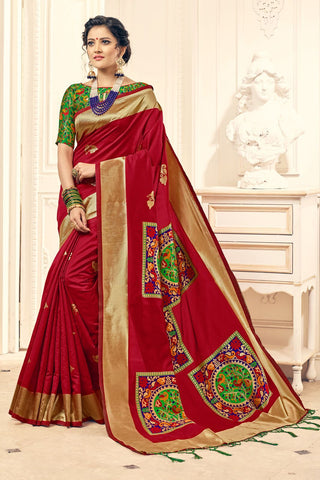 Maroon Color Banarasi Silk Saree - 28760