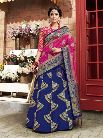 Blue Color Banarasi Silk Semi Stitched Lehenga Choli - 28762