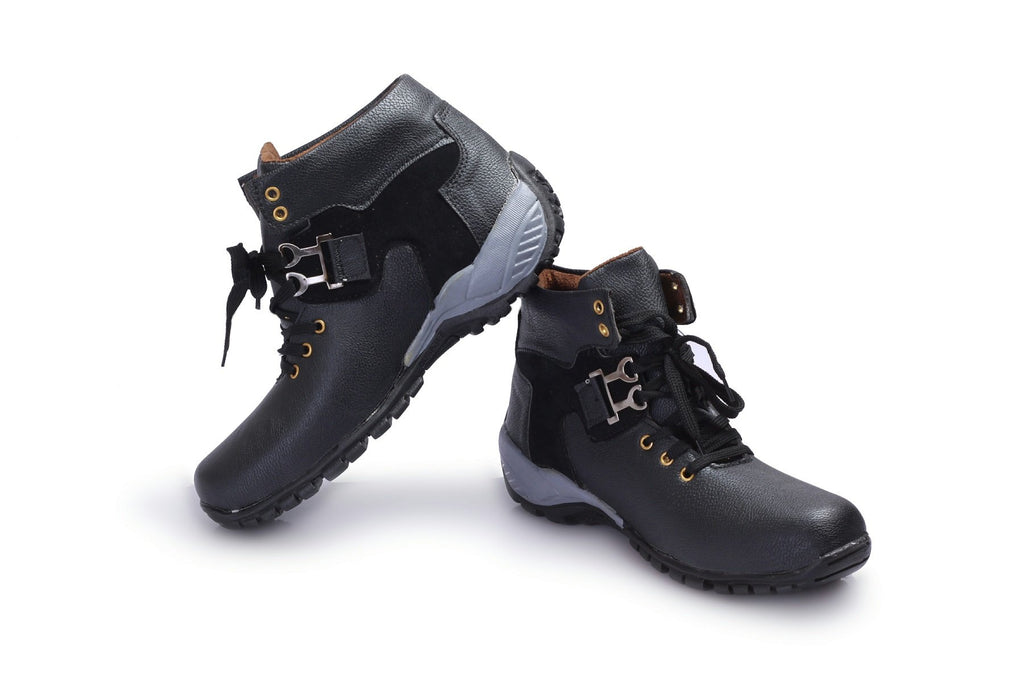 Buy Black Color Synthetic Leather Boot