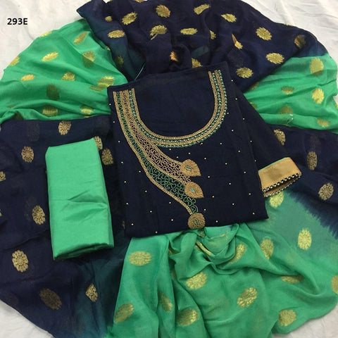 Navy Blue Color Chanderi Cotton Embroidered Unstitched Salwar - 293E