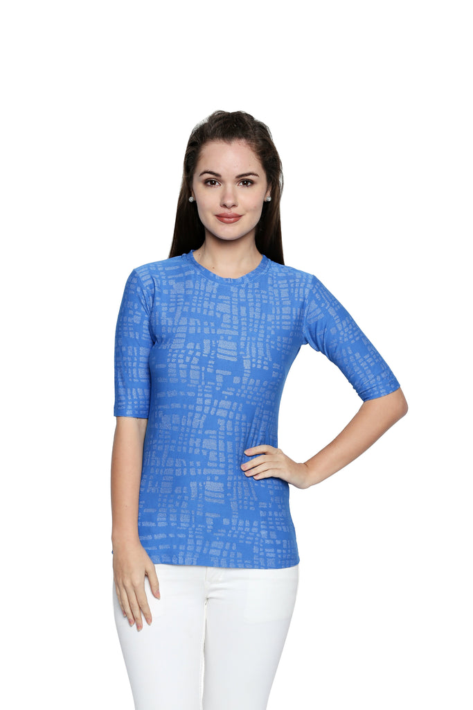 Buy Blue Color Lycra Knit Top