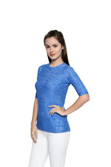 Blue Color Lycra Knit Top - 293NT209B