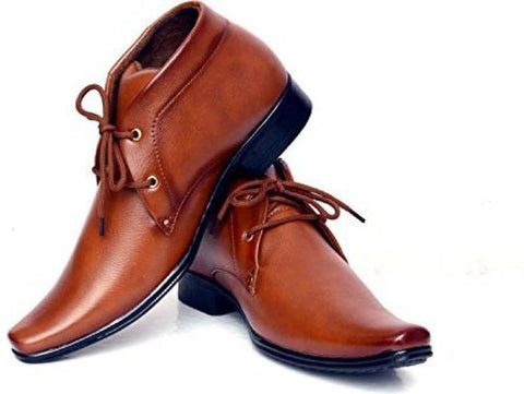 Tan Color Synthetic Leather Shoes - 295-TAN