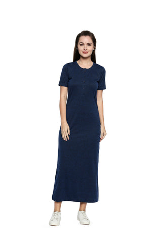 Blue Color Lycra Knit Long Dress - 295MI211B
