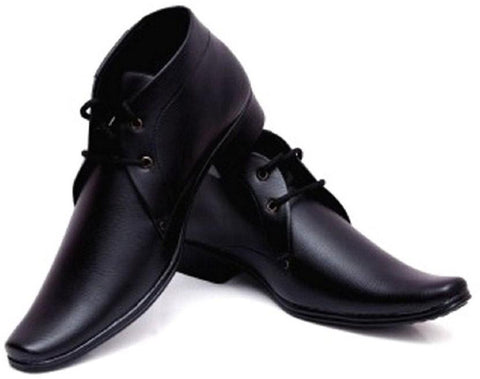 Black Color Synthetic Leather Shoes - 296-BLACK