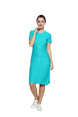 Sea Green Color Lycra Knit Midi Dress - 296MI212G