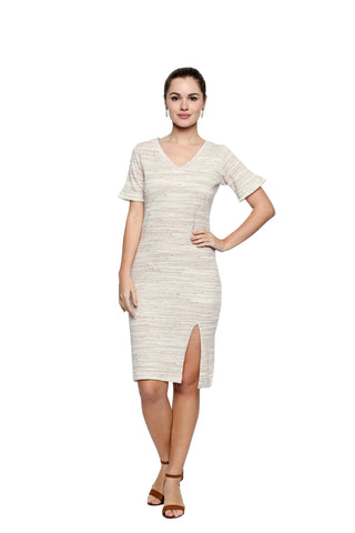 Off White Color Lycra Knit Midi Dress - 298MI212M