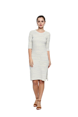 Off White Color Lycra Knit Midi Dress - 299MI212B