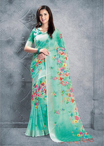 Sea Green Color Pure Linen Saree - 2ARDHN24002