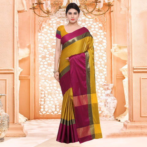 Mustard and Purple Color ArtSilk Saree - 2AURA2007